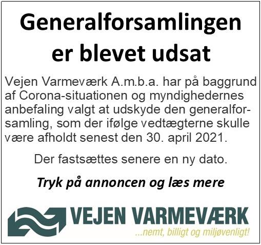 Vejen Varmeværk - generalforsamling udsat